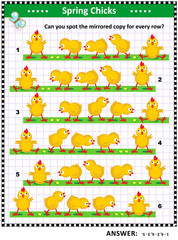 Spring or Easter visual puzzle: Can you spot the mirrored copy for every row? Answer included.