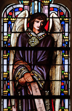 Angel, stained glass window from Saint Germain-l'Auxerrois church in Paris, France