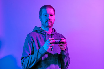 Artistic colorful portrait of a man with a mobile