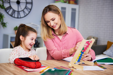 Young mother and child studying at home