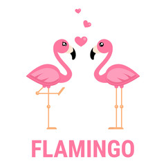 cartoon flamingo boy and girl with heart and text