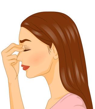Girl Massaging Forehead Illustration