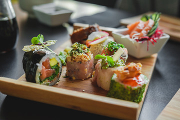Sushi and Japanese Food on the table