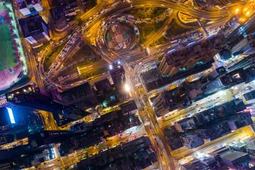 Wall Mural - Top down view of Hong Kong city at night