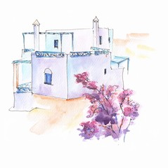 Greek architecture handpainted watercolor illustrations