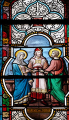 Wedding of the Virgin Mary, stained glass windows in the Saint Nicholas des Champs Church, Paris, France