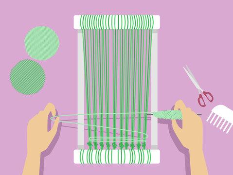 Hands Weaving Illustration