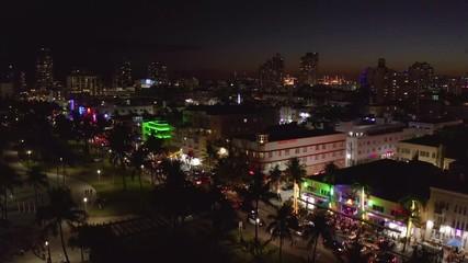 Fototapete - Miami South Beach Ocean Drive night aerial