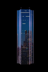 Modern commercial and business skyscraper with neon lights isolated on blck background.
