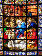 Lamentation of Christ, stained glass window in the Saint Augustine church in Paris, France