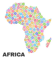 Mosaic technical Africa map isolated on a white background. Vector geographic abstraction in different colors. Mosaic of Africa map combined of random multi-colored gear items.