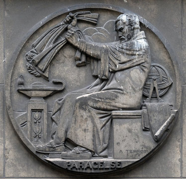 Paracelsus, was a Swiss physician, alchemist and astrologer of the German Renaissance. Stone relief at the building of the Faculte de Medicine Paris, France