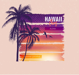 Hawaii surf. Colorful poster with palm trees. T-shirt print with inscription, summer design for youth, teenagers.