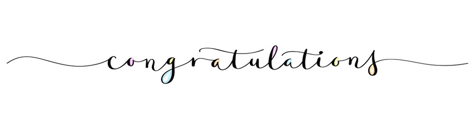 CONGRATULATIONS brush calligraphy banner with watercolor