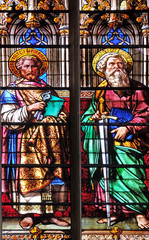 Saints Peter and Paul, stained glass windows in the Saint Gervais and Saint Protais Church, Paris, France