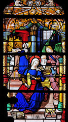 Virgin Mary at the temple, stained glass windows in the Saint Gervais and Saint Protais Church, Paris, France