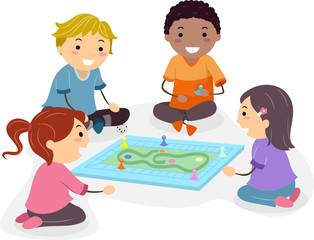 Stickman Kids Play Board Game Illustration