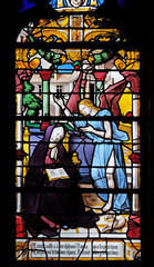 St. Anne received the vision of the angel who announced the birth of Mary, stained glass windows in the Saint Gervais and Saint Protais Church, Paris