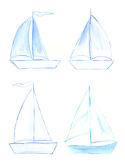 Watercolor set of sailboats.