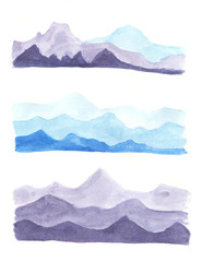 Watercolor set of mountains.
