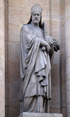 Saint Honoratus of Amiens, statue on the portal of Saint Roch church in Paris, France