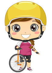 Kid Girl Unicycle Illustration