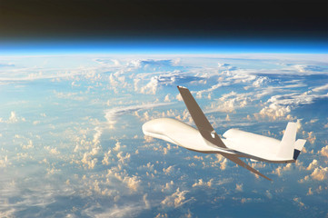 Unmanned aircraft flying in the upper atmosphere, the study of the gas shells of the planet Earth. Elements of this image furnished by NASA.