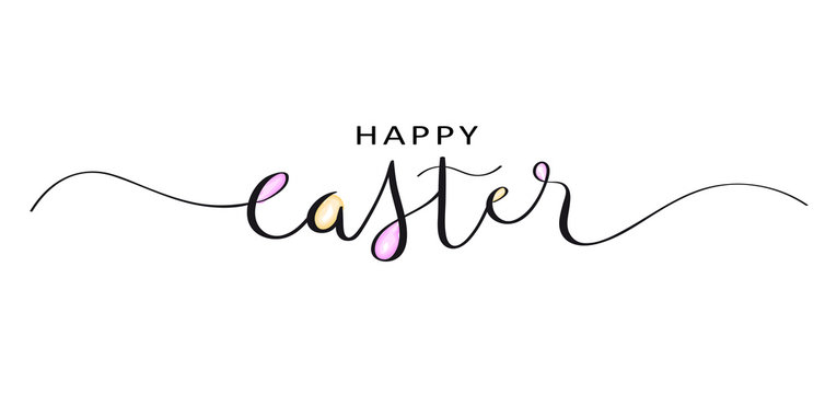 HAPPY EASTER brush calligraphy banner with watercolor