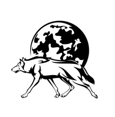 running wolf and full moon vector outline - night hunter black and white design