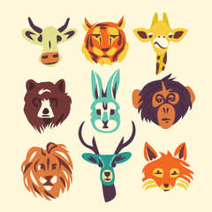 Wild animals, vector illustration, icon set