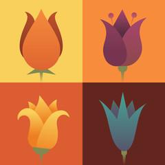Vector illustration icon set of flower