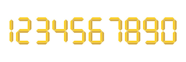 Yellow 3D-like digital numbers. Seven-segment display is used in calculators, digital clocks or electronic meters. Vector illustration