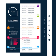 cv design template with glyph icons