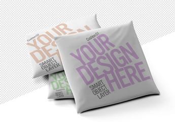 Three Square Pillow Cushions Mockup