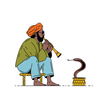 India, snake and charmer. Man with flute and cobra. Vector summer illustration.