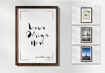 Frame Hanging on White Wall Mockup