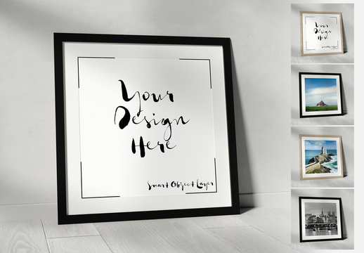 Square Frame Leaning against Wall Mockup