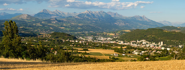 Panoramic Summer view of the city of Gap in Hautes-Alpes. European Alps, France