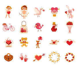 Valentine's day flat elements icon sets. Vector