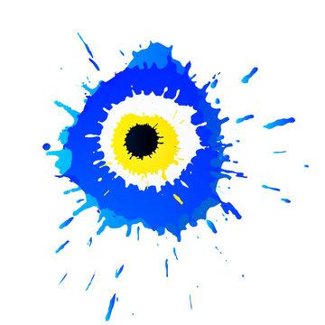 Colorful grunge Turkish Nazar Boncugu or Evil Eye amulet illustration. Believed that it protects against evil eye.