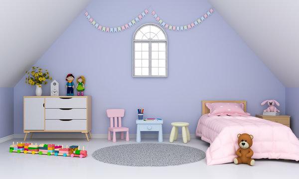 Violet children room interior under the roof for mockup, 3D rendering