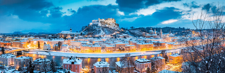 Salzburg panorama at Christmas time in winter, Austria