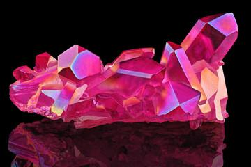 Amazing colorful Quartz Purple Titanium aura crystal cluster on black background, Angel aura mineral