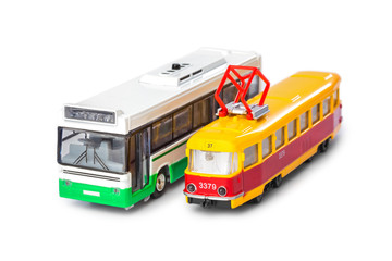 Toy bus and tram