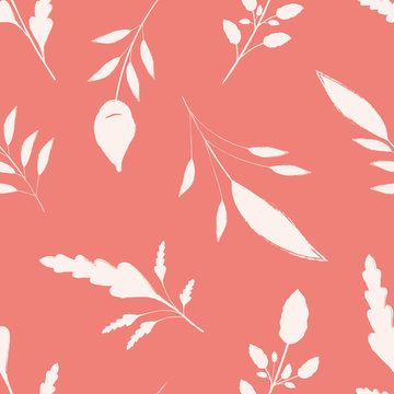Hand drawn white brush stroke leaves on coral pink background. Seamless vector pattern with a calm spacious feel. Great for wellbeing, organic, beauty, spa products, fabric, giftwrap, packaging