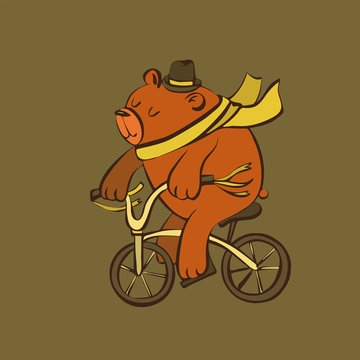 Cute cartoon bear on bicycle in hat and scarf illustration