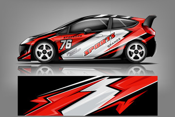 Car decal wrap design vector. Graphic abstract stripe racing background kit designs for vehicle, race car, rally, adventure and livery Wall mural