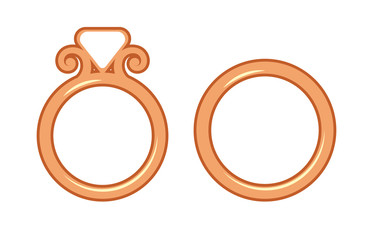 Wedding, proposal or engagement golden ring. Isolated cutout silhouette. Vector illustration.