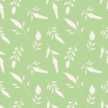 Hand drawn white brush stroke leaves on green background. Seamless vector pattern with a soothing vibe. Great for wellbeing, gardening, organic, beauty, spa products, fabric, giftwrap, stationery