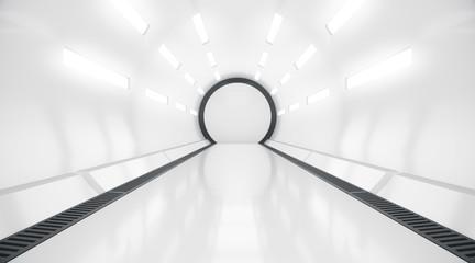 Futuristic tunnel. Future interior background, sci-fi science concept. 3d rendering. Wall mural